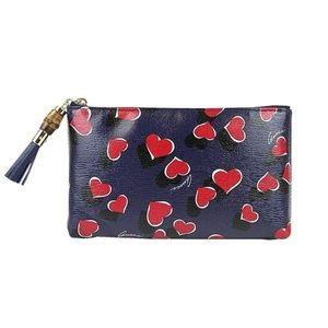 Gucci  Blue Leather Pouch Heartbeat Clutch Bag